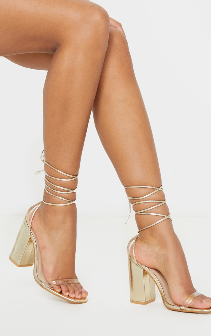 Gold Clear Strap Ankle Tie Block Heel Strappy Sandal 1