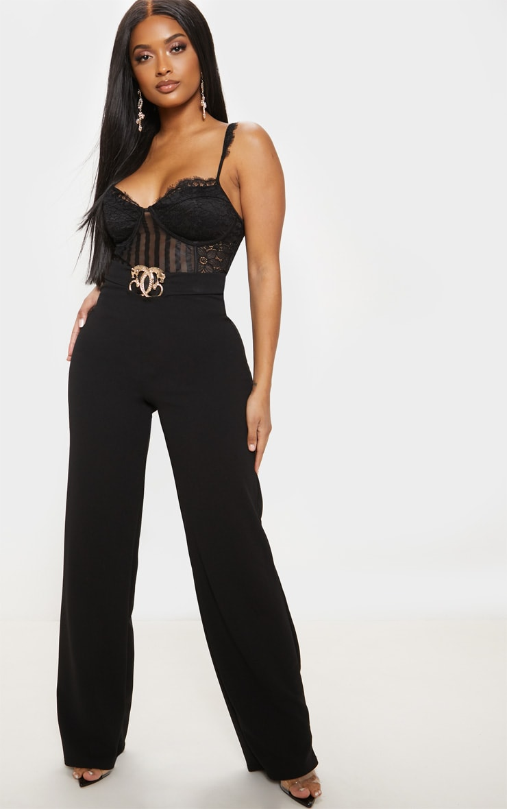 Shape Black Lace Mesh Stripe Bodysuit 6