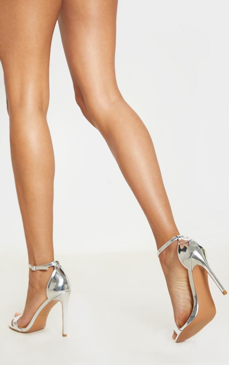 Sandales à talons & bride argentées métallisées 2