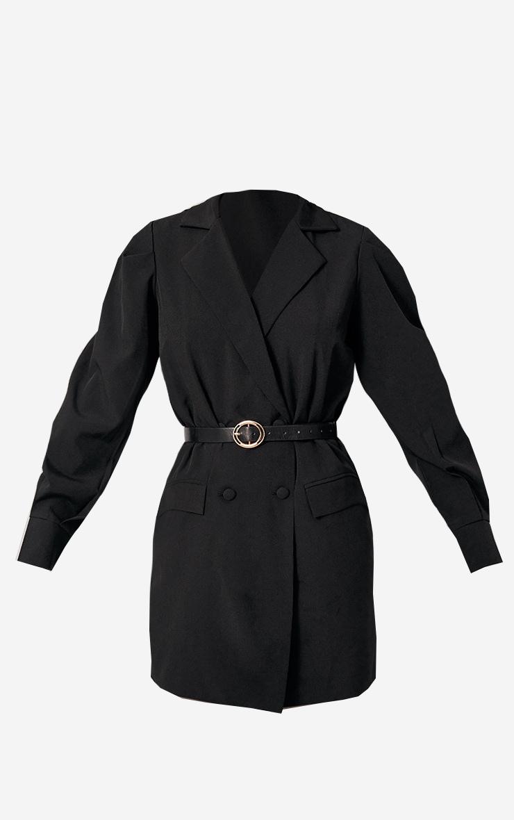 Black Woven Belted Blazer Dress 6