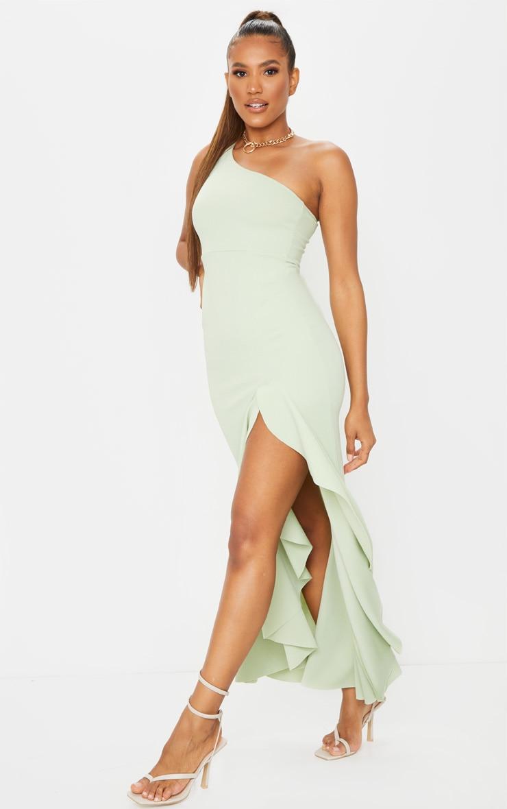 Sage Green One Shoulder Frill Split Maxi Dress 1