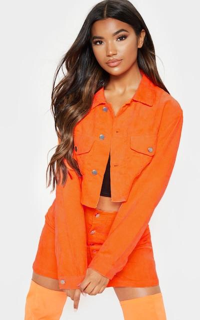 ff07a0bf8de Neon Orange Cord Button Down Skirt