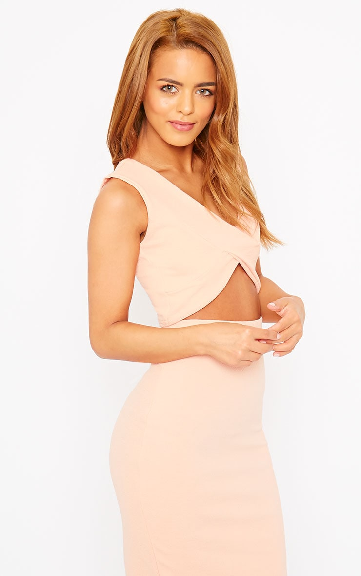 Tess Nude Crepe Cross Front Crop Top 3