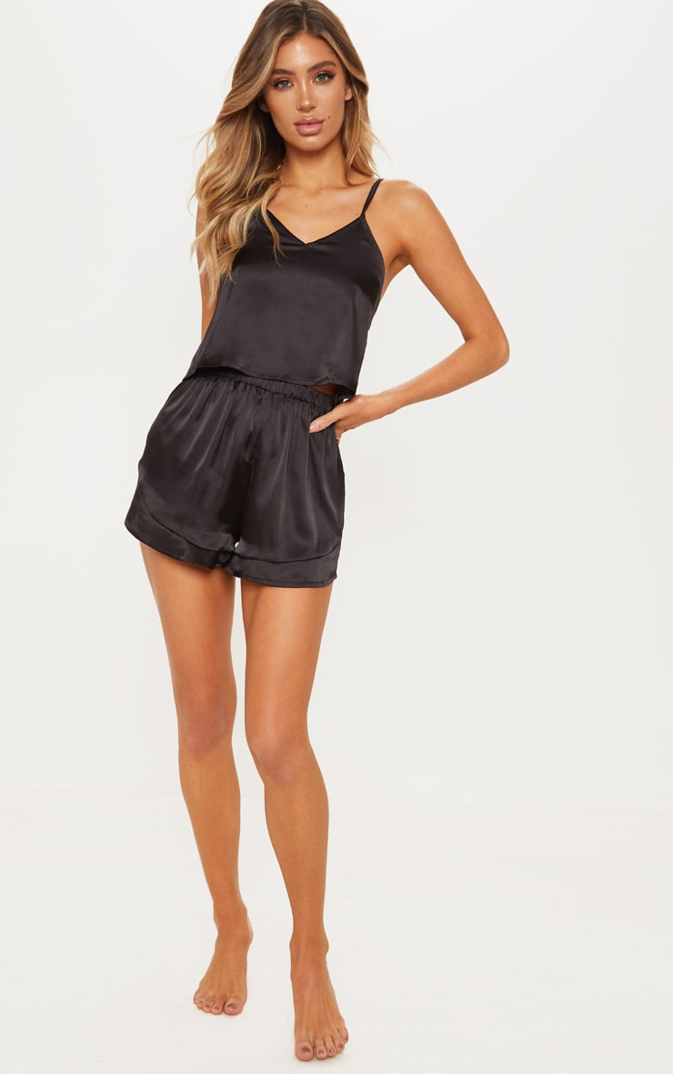 Black Satin Frill Short Pyjama Set 4