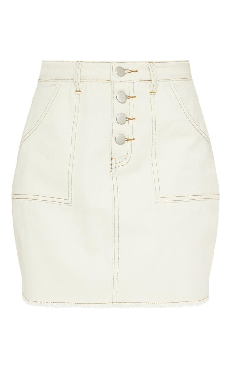 Sand Button Front Contrast Stitch Denim Skirt 3