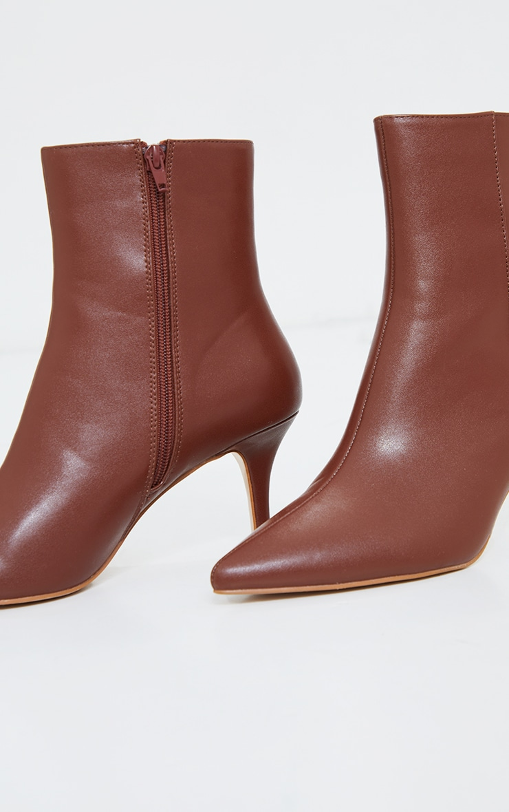 Brown Matte PU Point Toe Low Heeled Ankle Boots 3