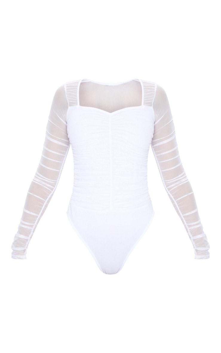 White Mesh Ruched Square Neck Bodysuit 5