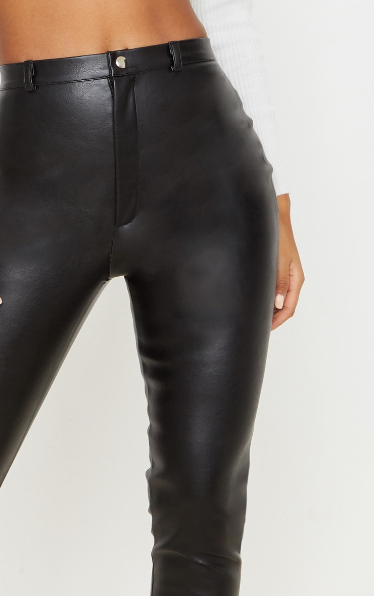 Black Faux Leather Straight Leg Pants 5