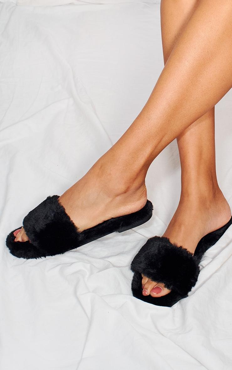 Black Fluffy One Strap Slider Slippers 1
