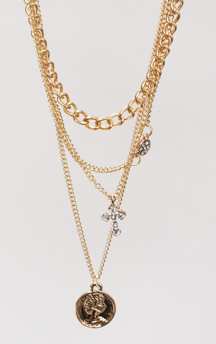 Gold Cross Multi Layering Necklace 3