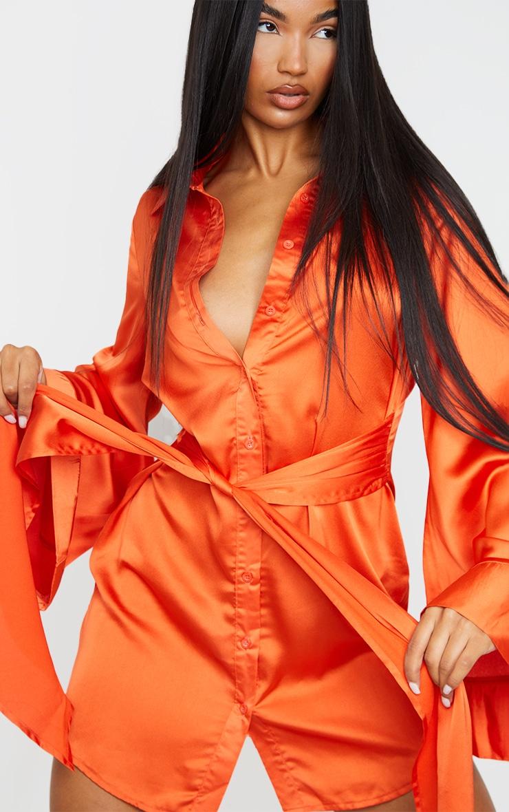 Orange Satin Exaggerated Sleeve Tie Waist Shirt Dress 4