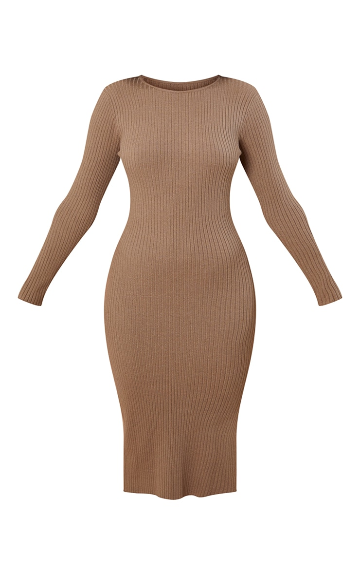 Recycled Mocha Ribbed Knitted Bodycon Midi Dress 5