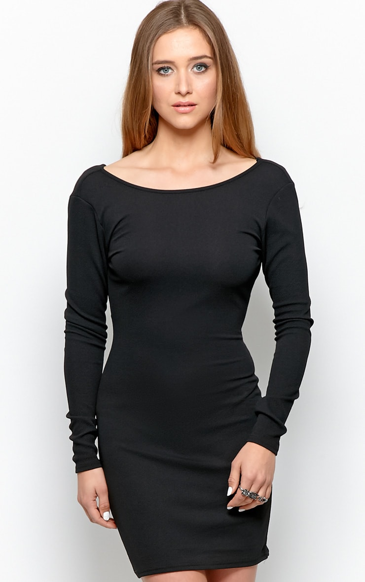 Gracie Black Cowl Back Dress 2