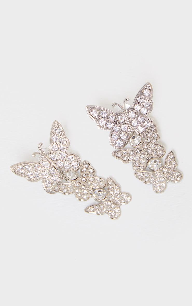 Silver Diamante Drop Butterfly Earrings 3