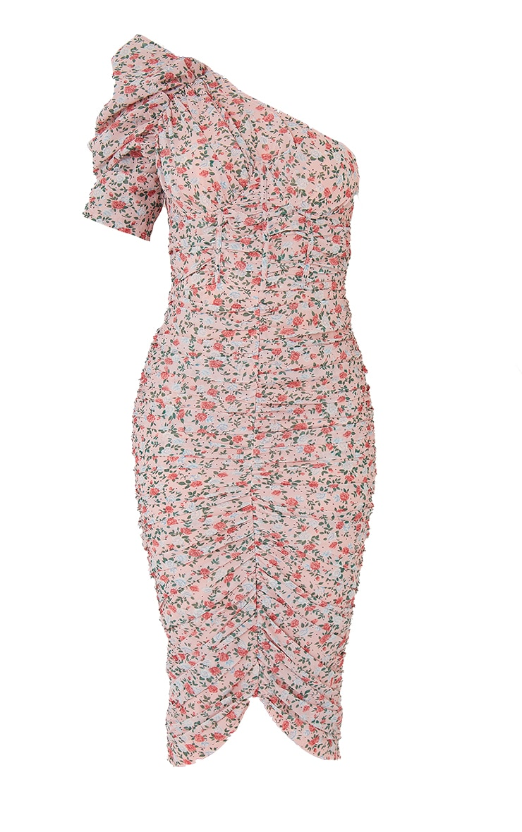 Dusty Pink Floral Print Cup Detail One Shoulder Midi Dress 5