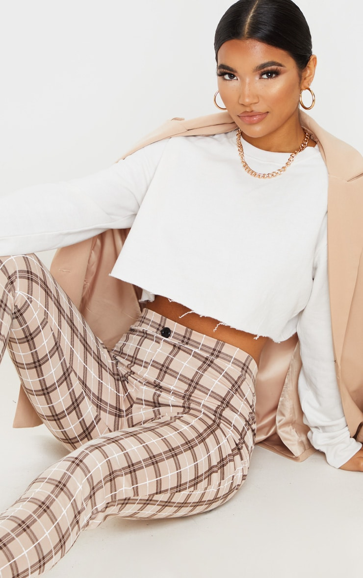 Stone Checked Cropped Skinny Pants 5