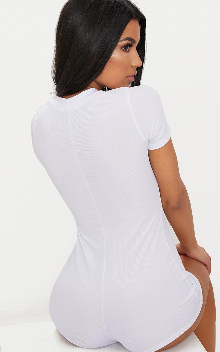 White Ribbed Button Detail Short Sleeve PJ Romper 2
