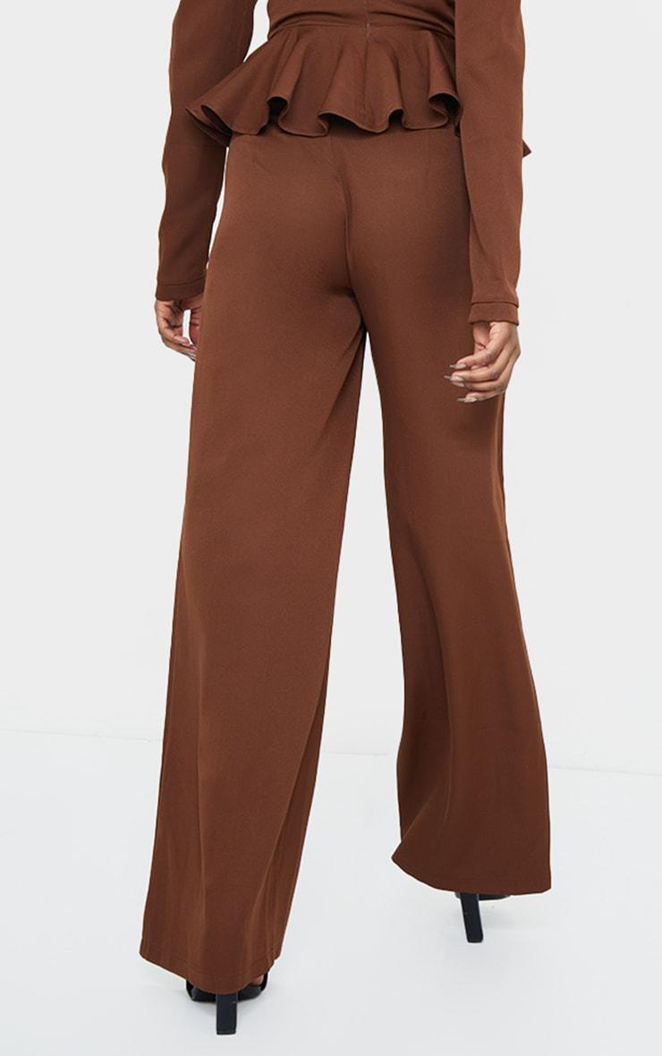 Chocolate High Waisted Woven Wide Leg Pants 3