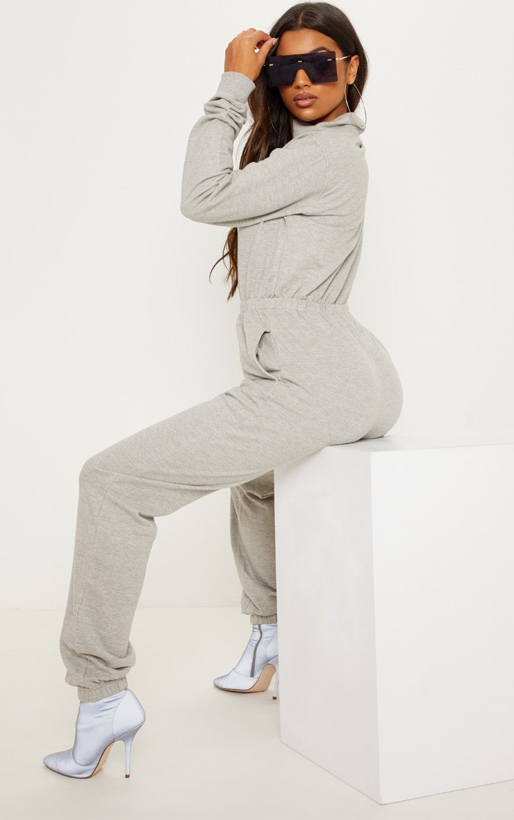 Grey Funnel Neck Zip Up Loop Back Jumpsuit 4