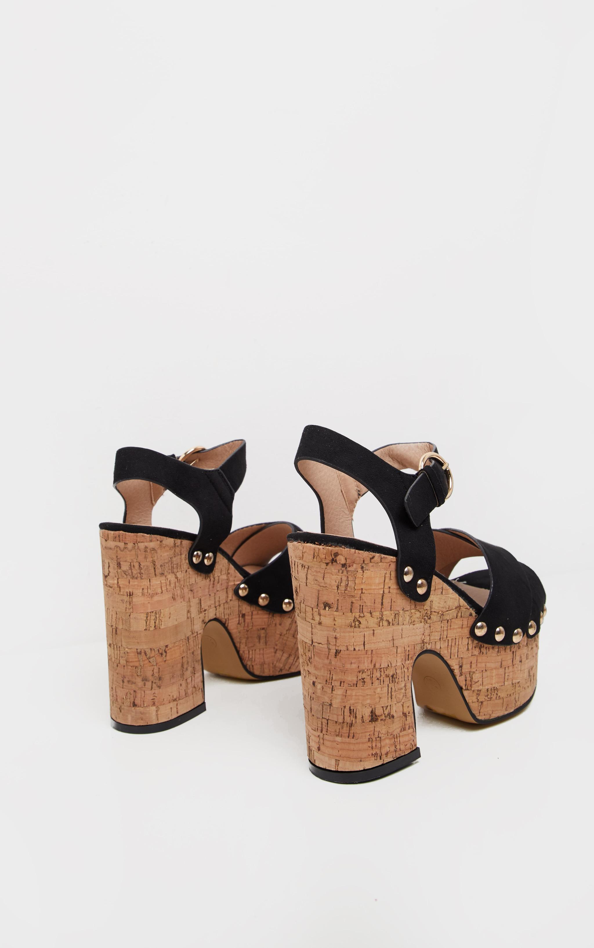 Black Cork Studded Platform Sandal 4