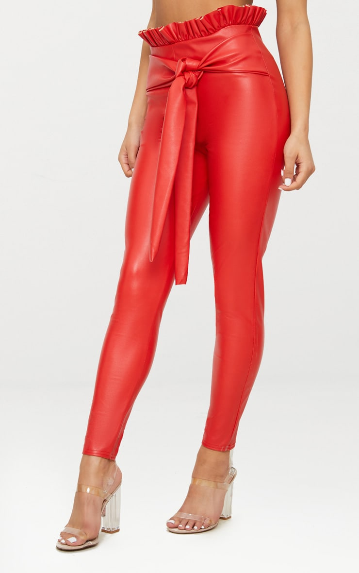 Red Faux Leather Paperbag Waist Skinny Trousers 2