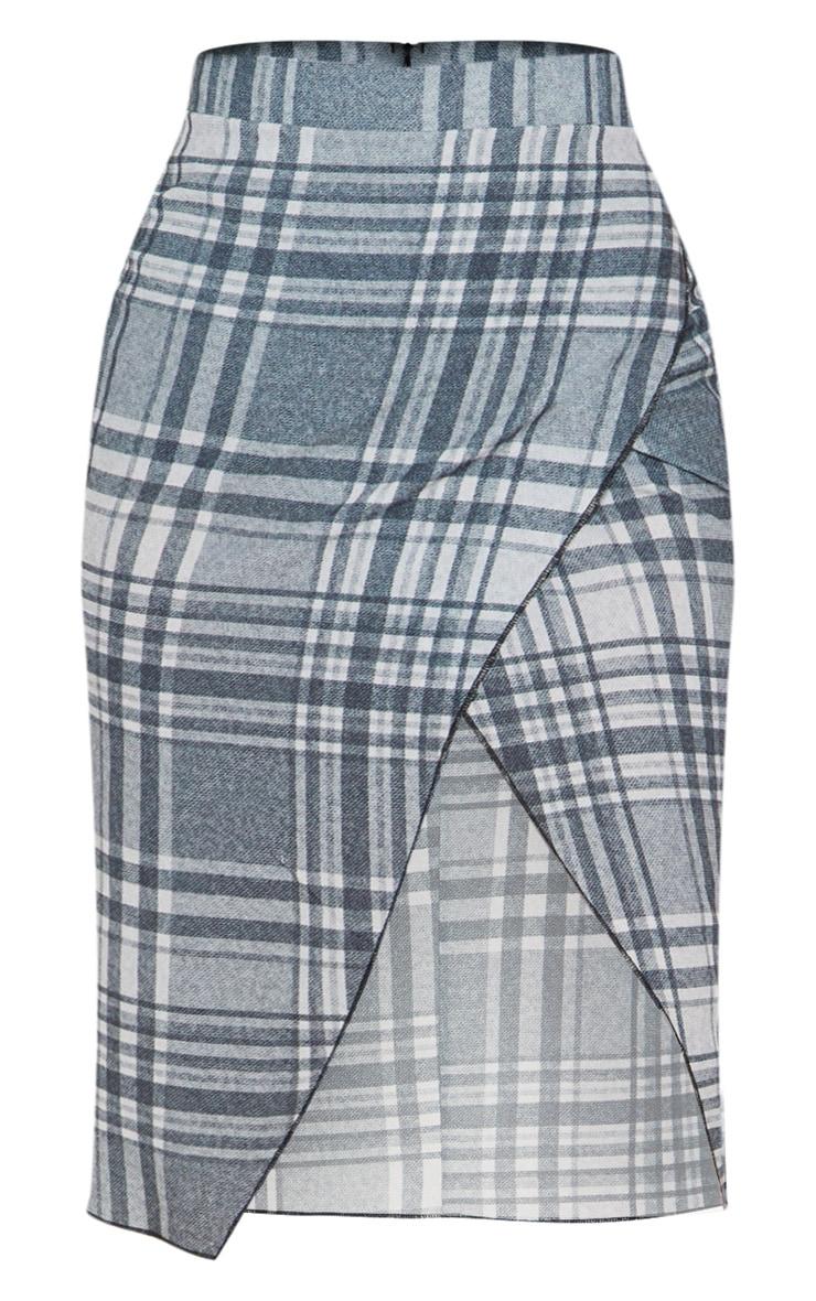 Petite Grey Checked Wrap Pencil Skirt  3