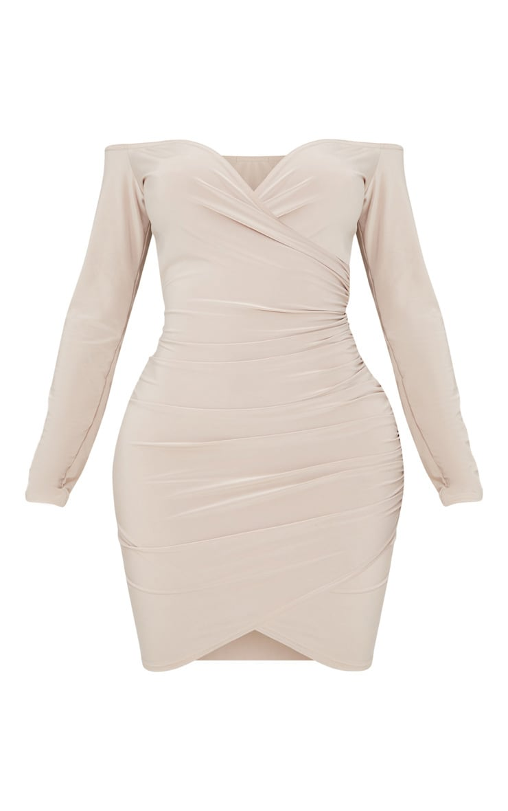 Stone Shape Slinky Ruched Detail Bardot Dress  3