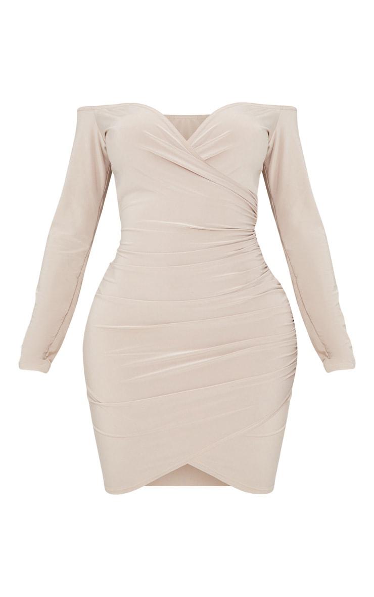 Shape Stone Slinky Ruched Detail Bardot Dress 3