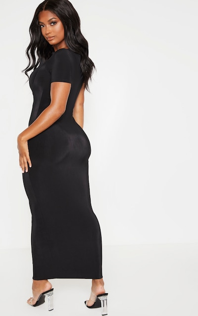 Shape Black Slinky Ruched Bust Cut Out Midi Dress