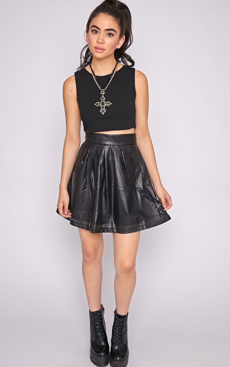 Farah Leather Perforated Skater Skirt-M 5