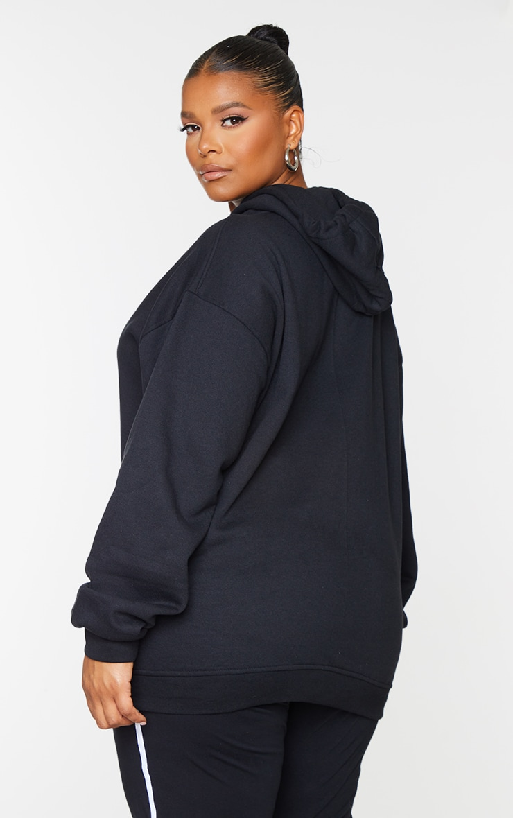 PRETTYLITTLETHING Plus Black Embroidered Oversized Hoodie 2