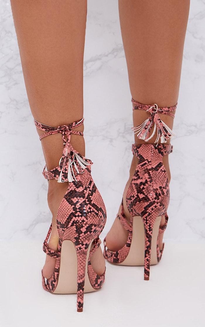 Pink Snake Print Tassel Lace Up Heels 4