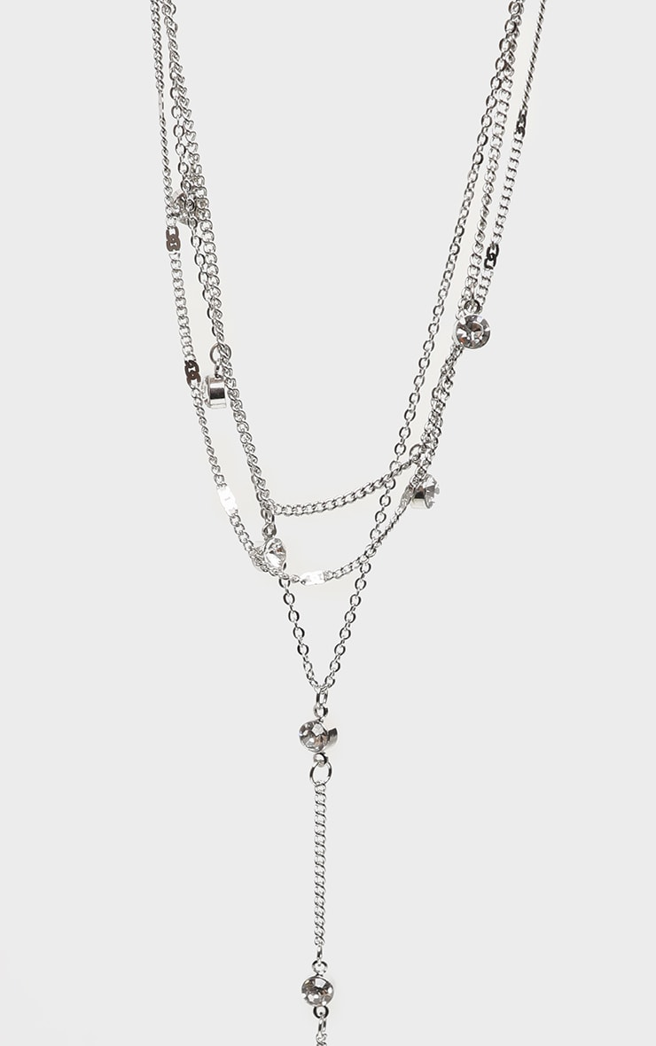 Silver Diamante Drop Layering Necklace 4