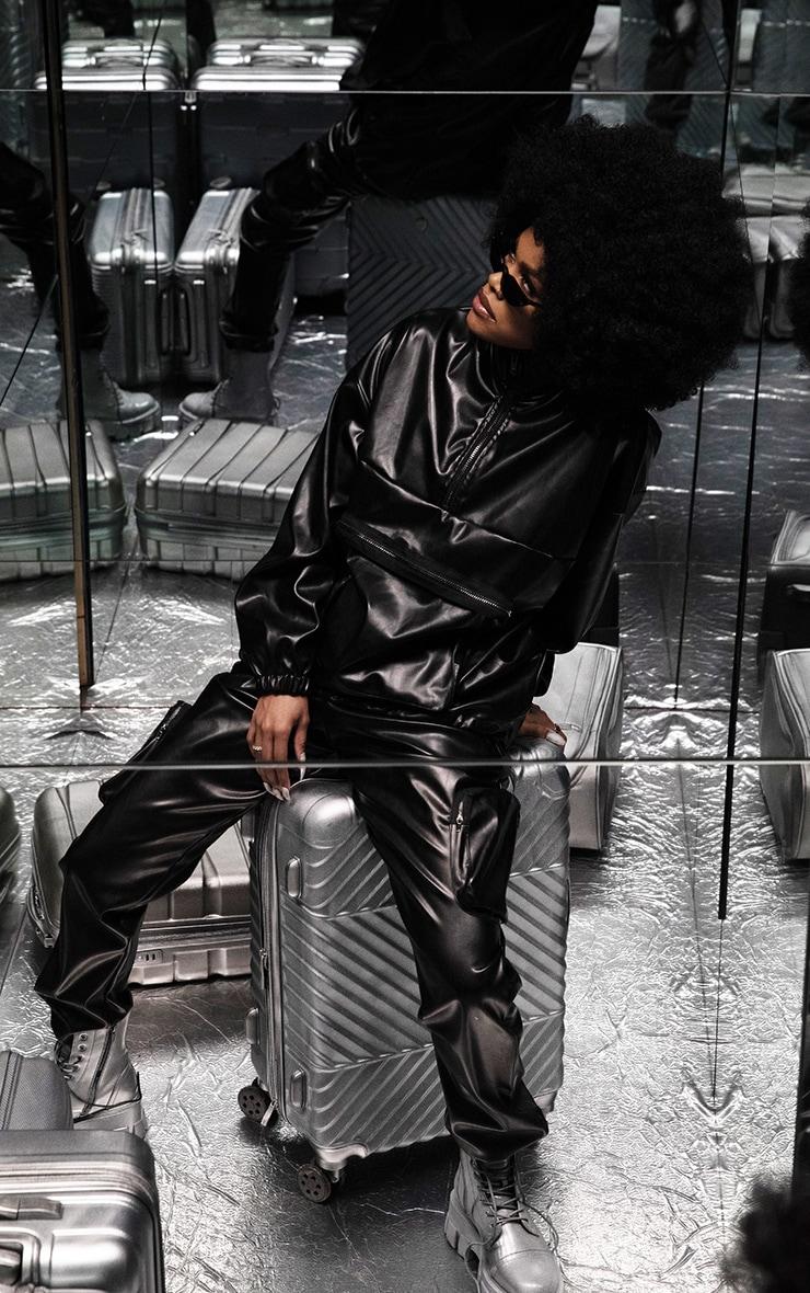 Black PU Zip Up Utility Jacket 1