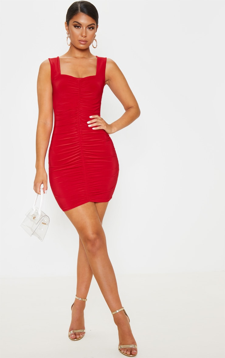 Red Slinky Ruched Front Square Neck Bodycon Dress 4