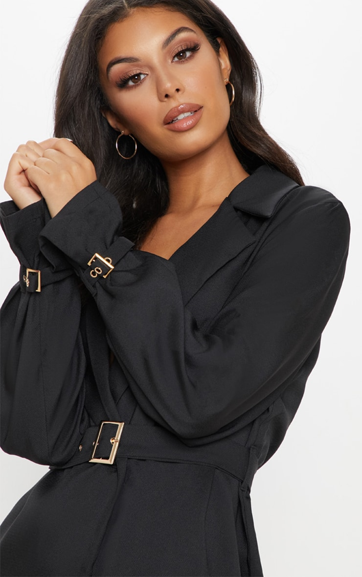 Black Buckle Detail Blazer Dress 4