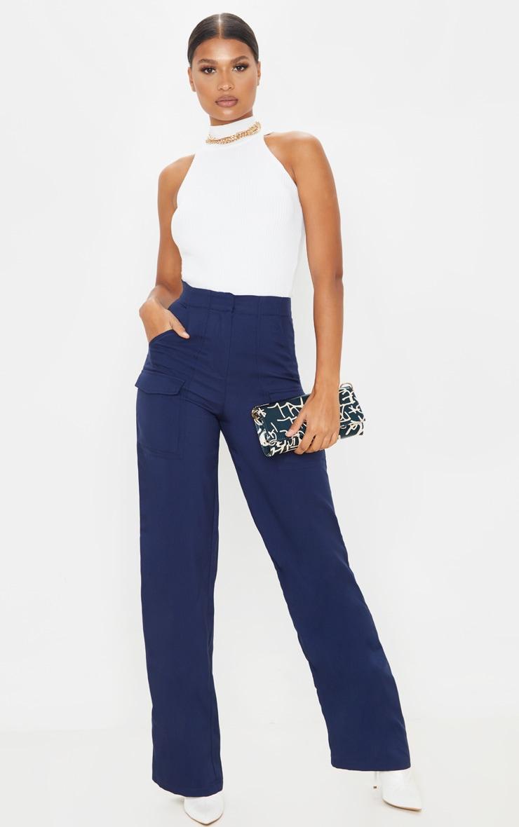 Navy Straight Leg Pocket Pants 1