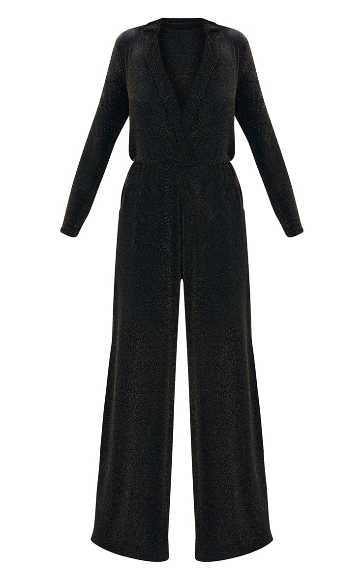 Black Lurex Plunge Jumpsuit 3