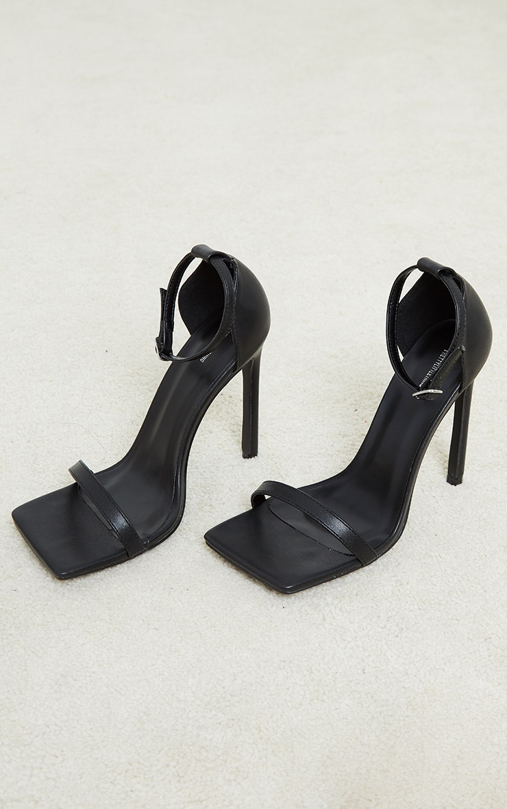 Black PU Barely There Strappy Heeled Sandals 3