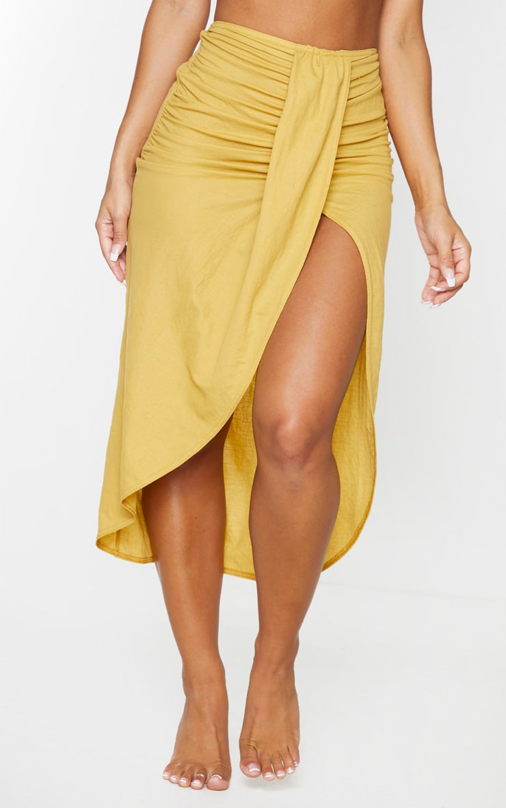 Yellow Knot Front Wrapped Sarong 2
