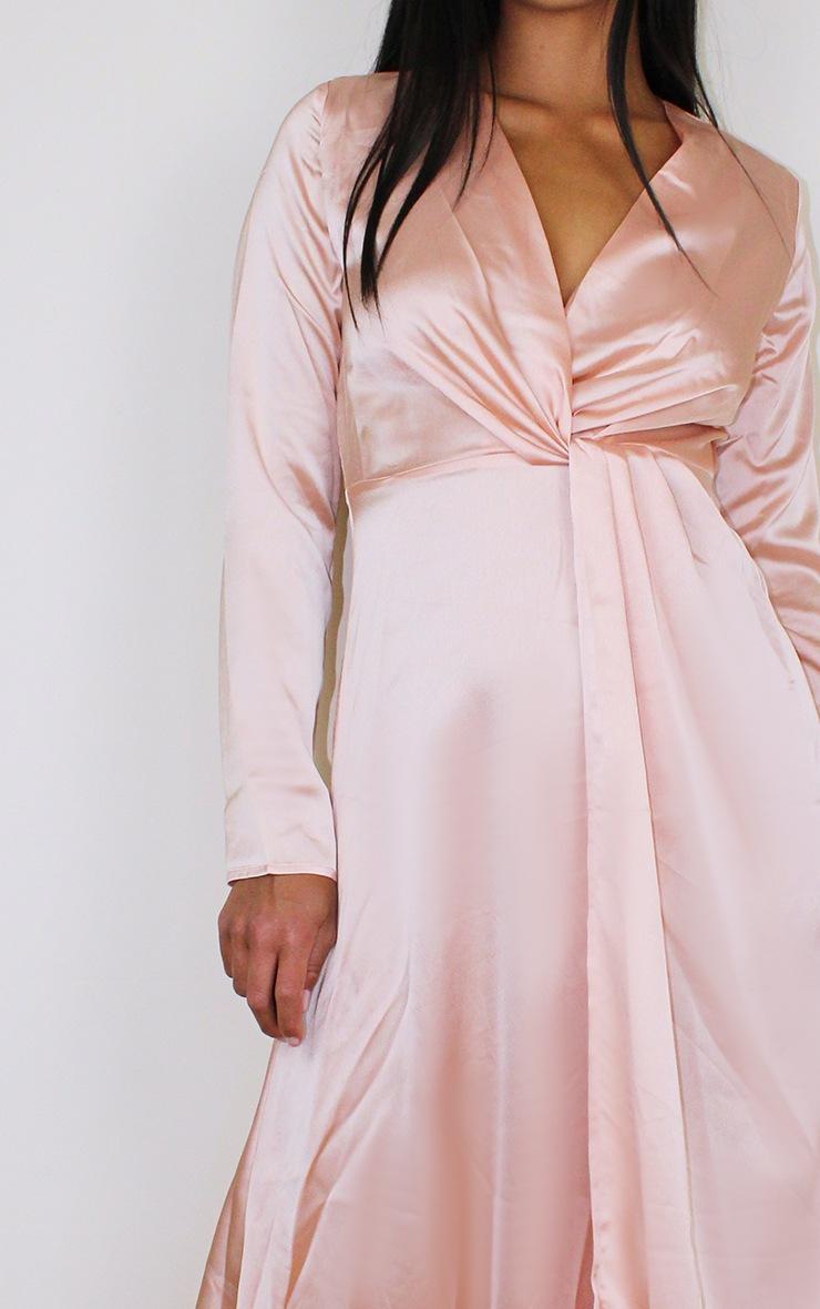 Petite Peach Twist Front Maxi Dress 4
