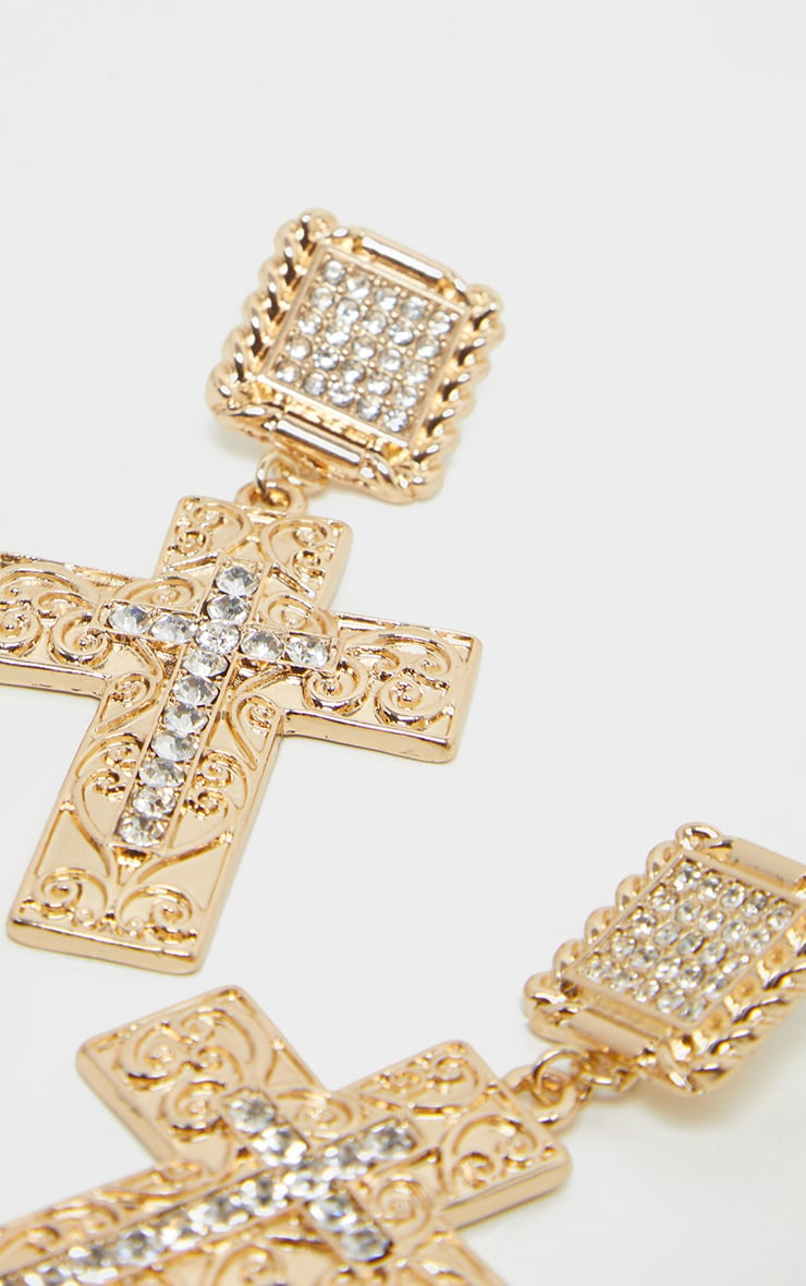 Gold Diamante Cross Drop Earring 3