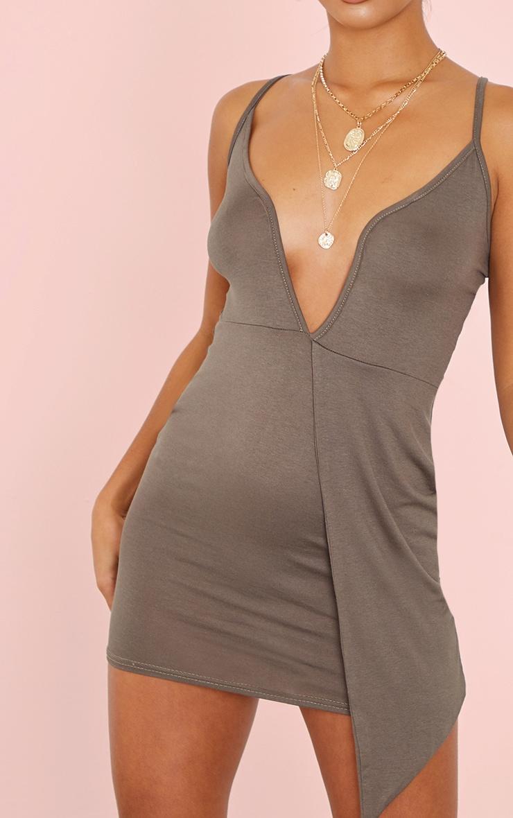 Petite Khaki Plunge Drape Detail Jersey Bodycon Dress 4