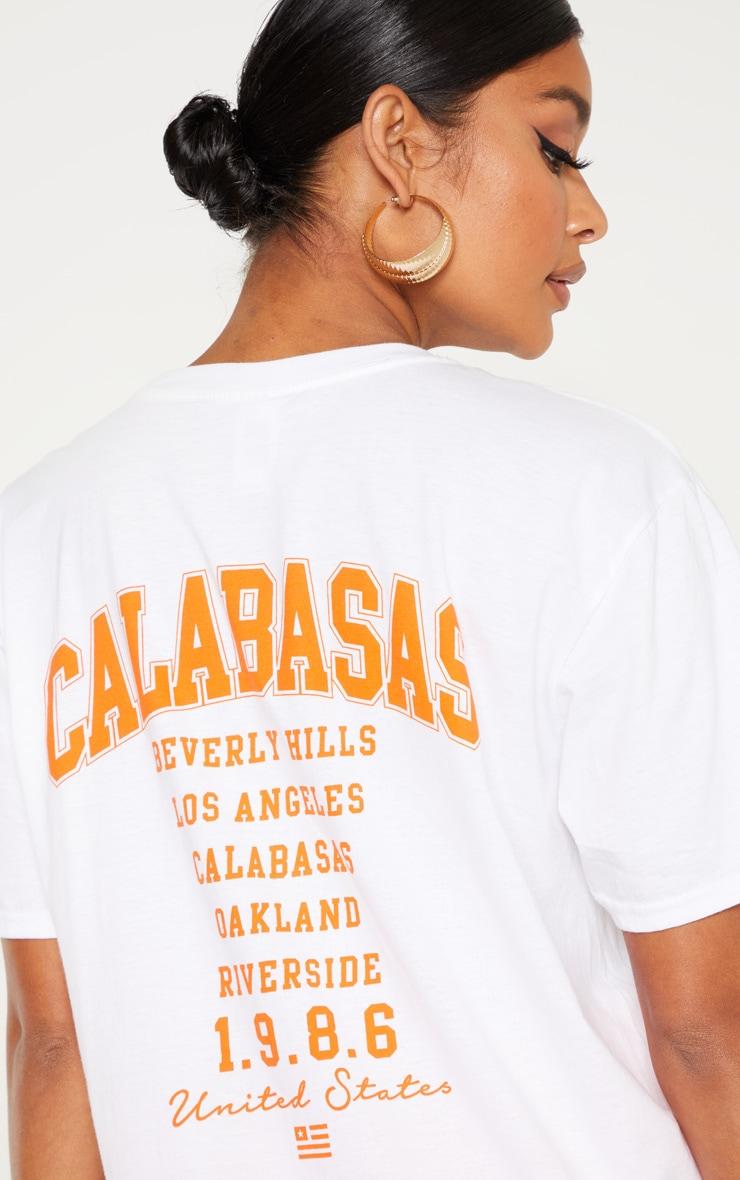 White Calabasas 1986 Slogan Oversized T Shirt 5