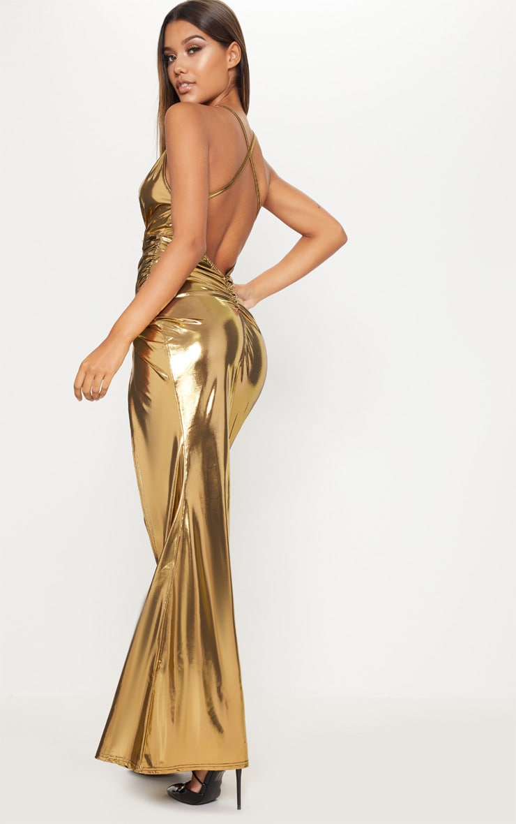 Gold Metallic Ruched Back Extreme Split Maxi Dress 1