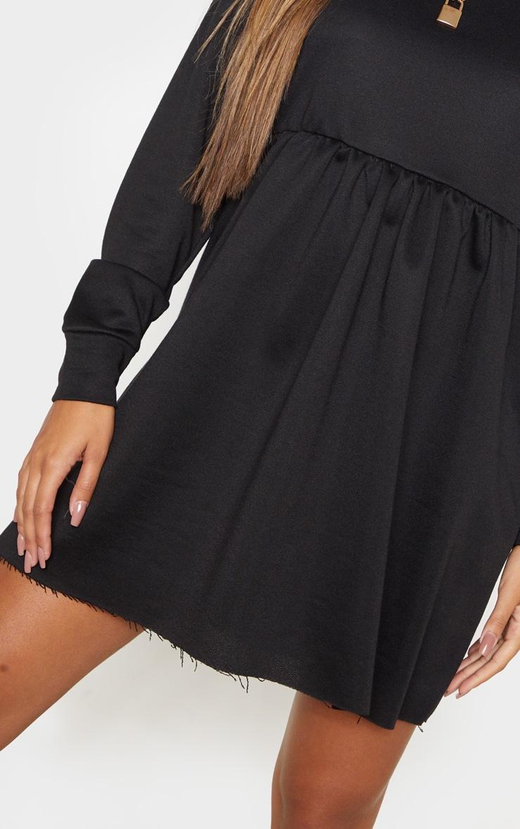 Black Sweat Long Sleeve Smock Dress 5