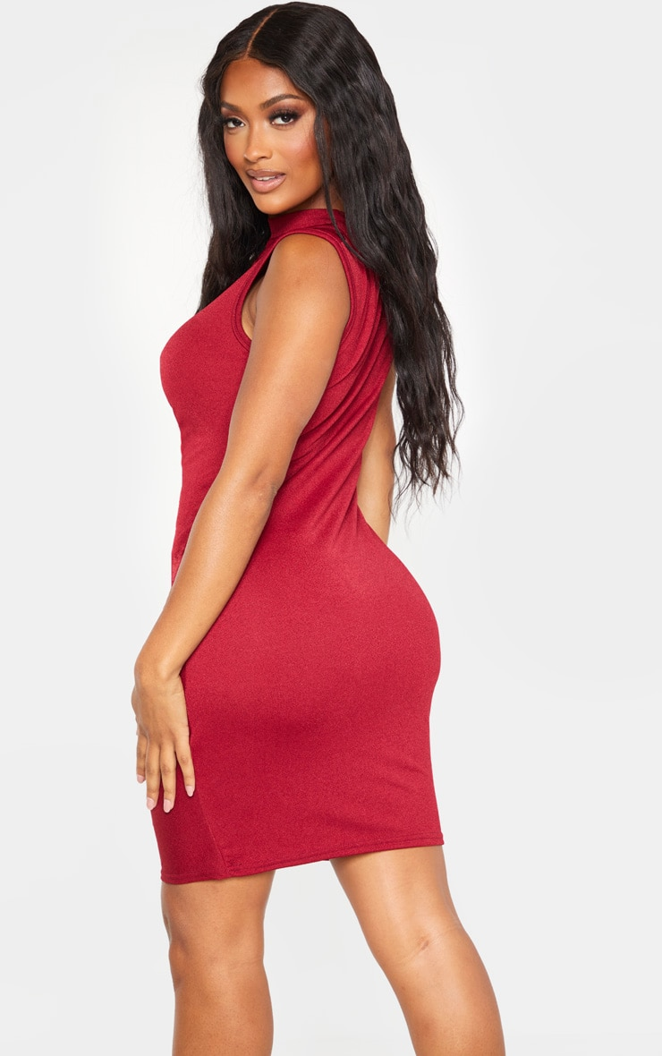 Shape Burgundy High Neck Ruched Front Sleeveless Bodycon Dress 2