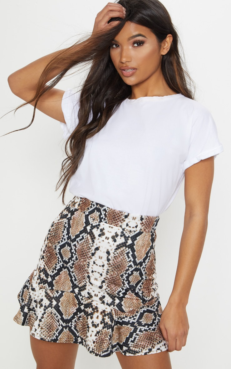 Taupe Verity Snake Print Flippy Hem Mini Skirt 1