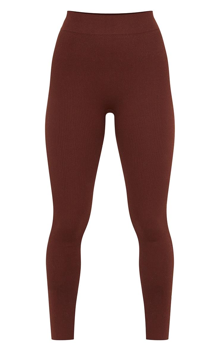 Petite Chocolate Structured Contour Rib Leggings 5