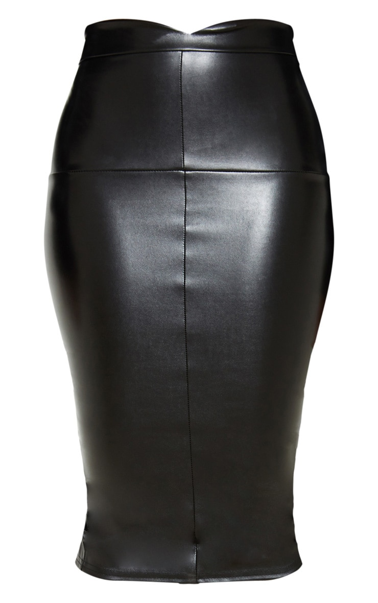 Petite Black Faux Leather Panel Midi Skirt 3